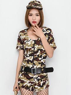 Halloween Sexy Crew Neck Camouflage Stage Suit