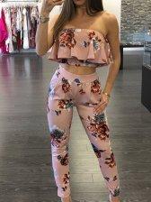 Women Suits Flouncing Top w Floral Pants