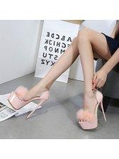 Fluffy Clear Strap Super High Heel Stiletto Sandals