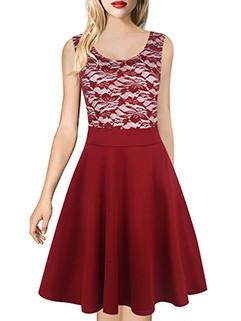 Sleeveless Lace Panel A-line O Neck Dress