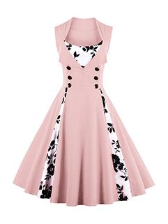 Vintage Patchwork Printed Draped A-Line Dress