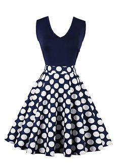 Fashion Dot Printed Vintage Sleeveless Dress