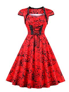 New Bandage Smart Waist Short Sleeve Vintage Dress