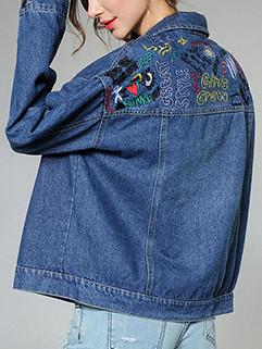Easy Match Lapel Embroidery Denim Coat