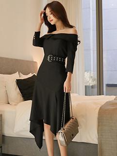 Off Shoulder 3/4 Sleeve Women Cocktail Dress