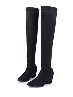 Pointed Toe Solid Suede Chelsea Thigh High Boots