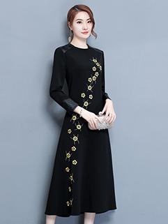 Embroidery PU Panel Black Midi Dresses