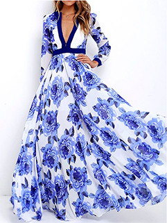 Surplice Floral Long Sleeve Floor Length Gown