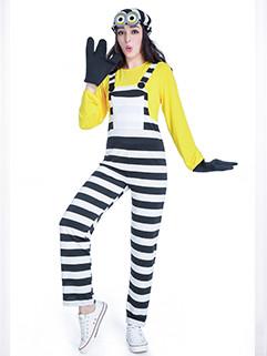 Halloween Stylish Patchwork Stripe Minions Cosplay women Suit