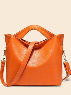 Litchi Solid Color Fashion Crossbody Bag