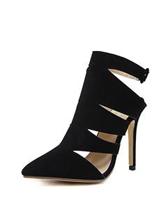 Cut Out Ankle Strap Black Suede Stiletto Pumps
