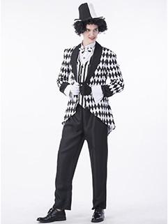Halloween Lapel Plaid Black With White Clown Suit