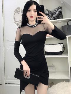 Pearls Mock Neck Semi Sheer Sexy Night Dress
