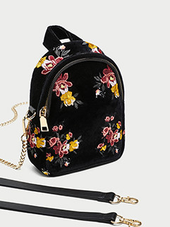 Easy Match Flower Embroidery Zipper Double Shoulder Bag