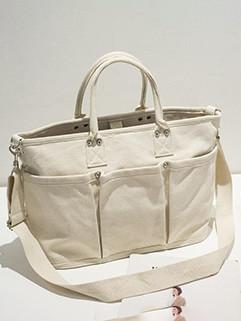 Korean Casual Multic Pockets Canvas Bag