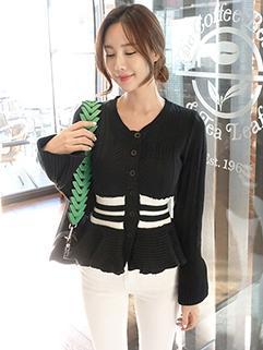 Korean Style Single Breasted Stripe Pleated Sweater