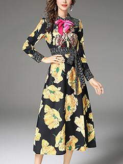 Retro Floral Prints Bow A-line Party Dress