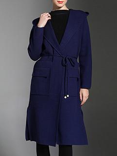 European Style Solid Pocket Hooded Cardigan