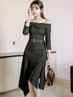 Sexy Boat Neck Irregular Hem Solid Dress