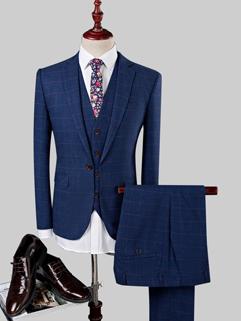 New Solid Plaid Long Sleeve Long Pant 3Pcs Suit