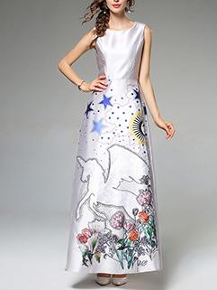 Vogue Prints Sleeveless A Line Long Dress