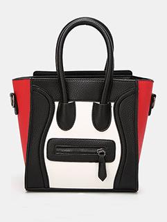 Smile Face Zipper Patchwork Handle Bags