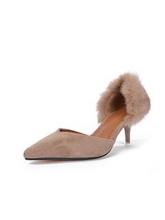 Trendy Fluffy Side Open Stiletto Heel Pointed Toe Pumps