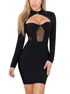 Night Club Keyhole Design Sexy Black Dress