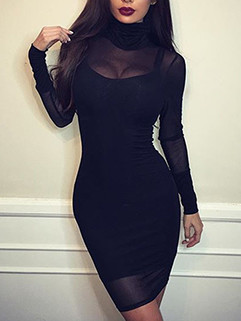 High Neck Long Sleeve Perspective Two Piece Dress
