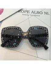 Flower Hollow Trim Square Sunglasses