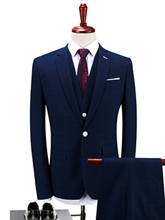 New Solid Fitted One Button Deep Blue Suit