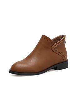 UK Style Solid Low Heel Zip Back Women Booties