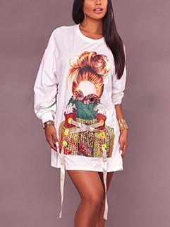 Human Print Long Sleeve Pullover Tunic Dress