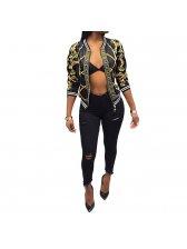 Digital Prints 3/4 Sleeve Zipper Outwear