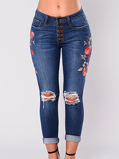 Casual Mid Waist Single Breasted Embroidery Pants