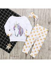 Animal Printed Tee With Polka Dots Pants