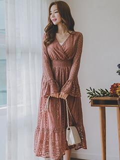 Newest Smock Waist Lace Flare Dresses