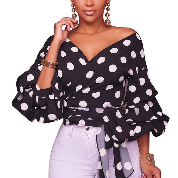 Tiered Long Sleeve V Neck Polka Dots Blouse Design