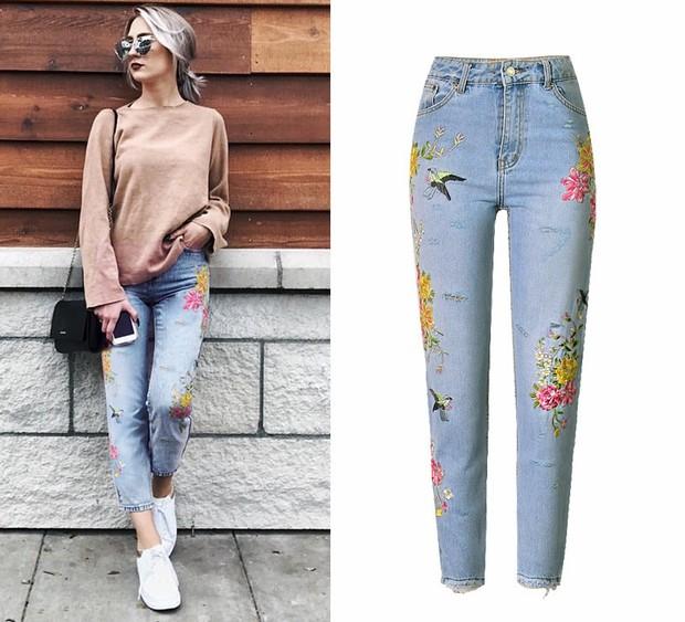 Fresh High Waist Flower Embroidery Denim Jeans