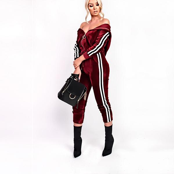 Casual Stripe Fringe Hooded Cozy Velvet Activewear