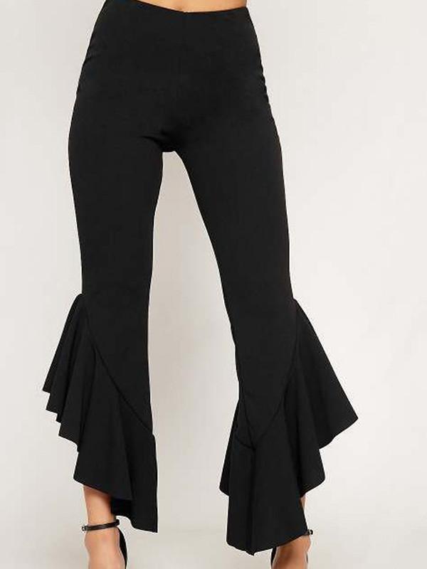 Stylish High Waist Irregular Hem Ruffles Pants