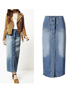 Vintage Button Denim Pencil Skirt
