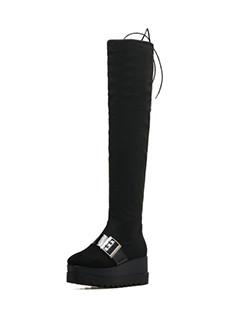 Square Toe Buckle Decor Platform Thigh High Boots