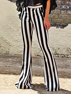Vintage Style Mid Waist Color Contrast Stripe Flare Pants