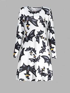 Autumn Halloween Bat Printed Crew Neck Loose Dress