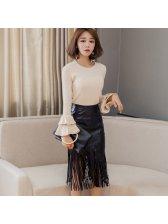 Stylish High Waist Tassel Solid Skirt