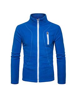 Euro Stand Neck Zipper Design Sporty Casual Hoodies