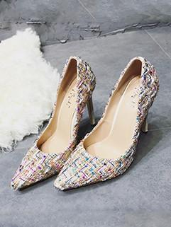 Tweed Pointed Toe Elegant Ladies Stiletto High Heels
