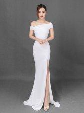 Inclined Shoulder Fashion High Slit Fishtail Dress