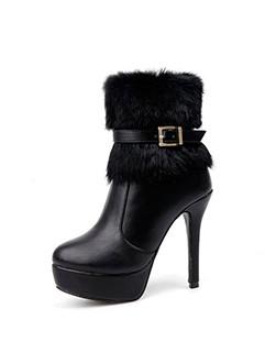 Ankle Strap Rabbit Fur Stiletto High Heels Booties